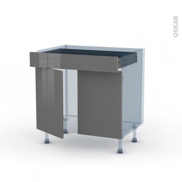 STECIA Gris - Kit Rénovation 18 - Meuble bas cuisine  - 2 portes 1 tiroir - L80xH70xP60