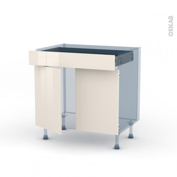 Keria ivoire kit r novation 18 meuble bas cuisine 2 portes for Meuble bas cuisine 2 portes 2 tiroirs