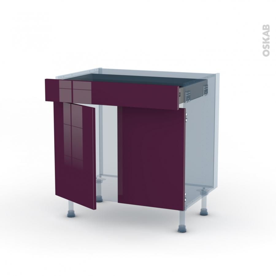 Keria aubergine kit r novation 18 meuble bas cuisine 2 for Meuble bas cuisine 2 portes 2 tiroirs