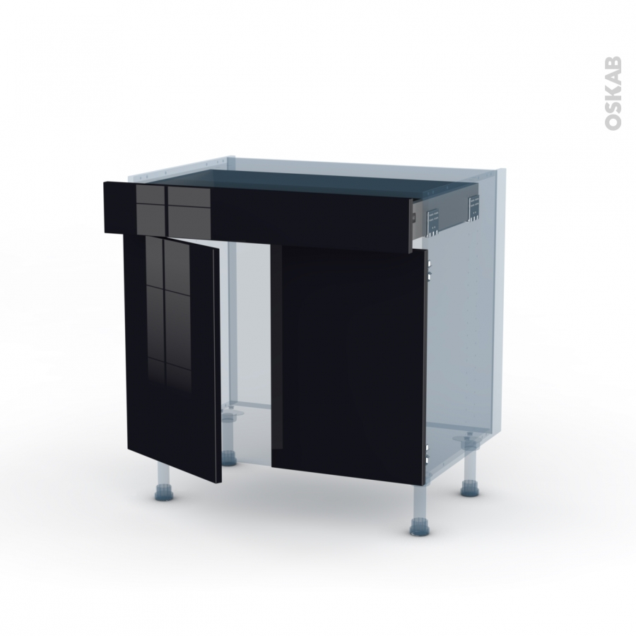 Meuble bas cuisine 2 portes 2 tiroirs d coration de for Meuble bas 2 portes 2 tiroirs