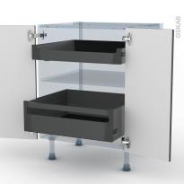 GINKO Gris - Kit Rénovation 18 - Meuble bas - 2 portes - 2 tiroirs à l'anglaise - L60xH70xP60