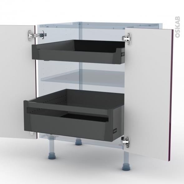 KERIA Aubergine - Kit Rénovation 18 - Meuble bas - 2 portes - 2 tiroirs à l'anglaise - L60xH70xP60