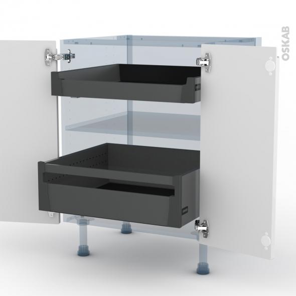 IPOMA Blanc - Kit Rénovation 18 - Meuble bas - 2 portes - 2 tiroirs à l'anglaise - L60xH70xP60
