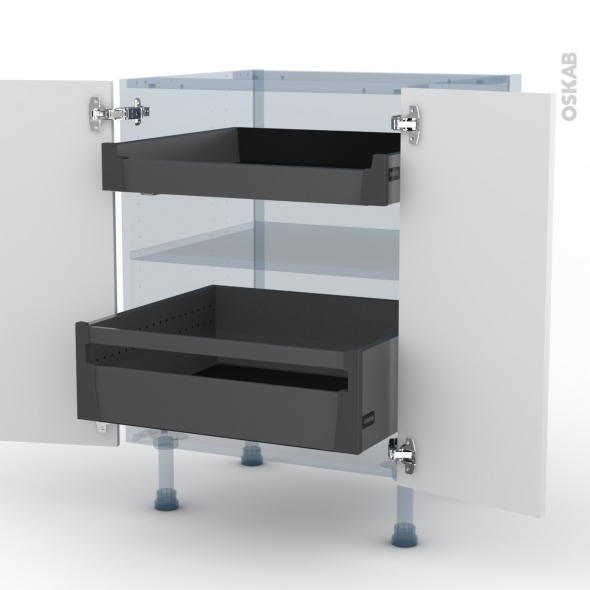 STECIA Blanc - Kit Rénovation 18 - Meuble bas - 2 portes - 2 tiroirs à l'anglaise - L60xH70xP60