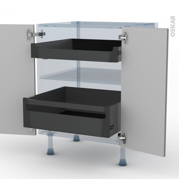 FILIPEN Gris - Kit Rénovation 18 - Meuble bas - 2 portes - 2 tiroirs à l'anglaise - L60xH70xP60