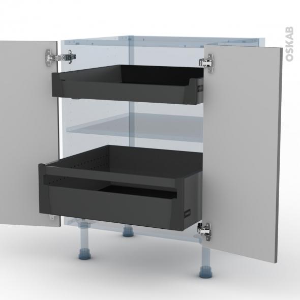 STECIA Gris - Kit Rénovation 18 - Meuble bas - 2 portes - 2 tiroirs à l'anglaise - L60xH70xP60