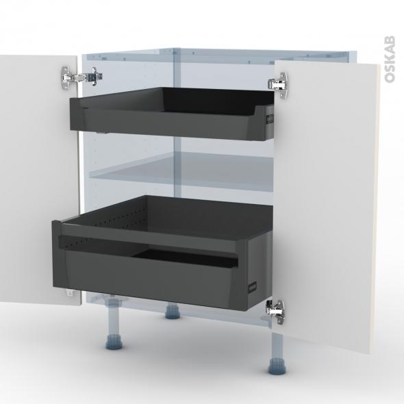 FILIPEN Ivoire - Kit Rénovation 18 - Meuble bas - 2 portes - 2 tiroirs à l'anglaise - L60xH70xP60