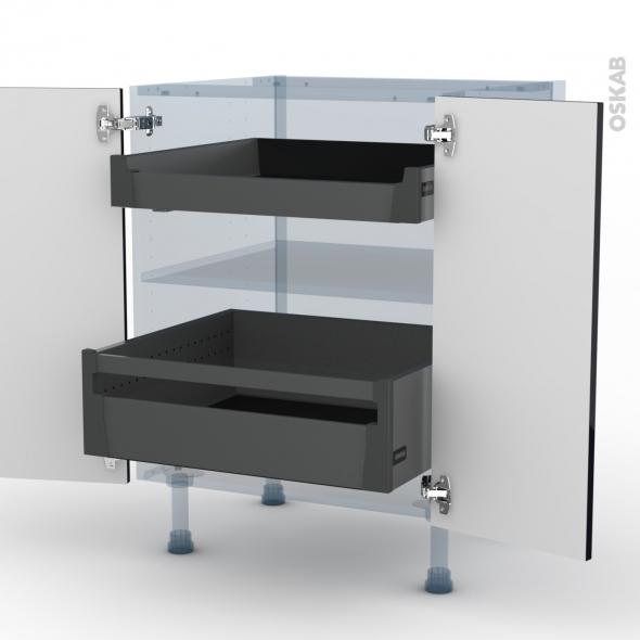 KERIA Noir - Kit Rénovation 18 - Meuble bas - 2 portes - 2 tiroirs à l'anglaise - L60xH70xP60
