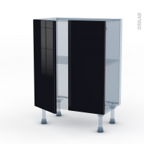 KERIA Noir - Kit Rénovation 18 - Meuble bas prof.37 - 2 portes - L60xH70xP37,5
