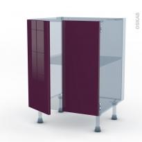 KERIA Aubergine - Kit Rénovation 18 - Meuble bas cuisine - 2 portes - L60xH70xP60