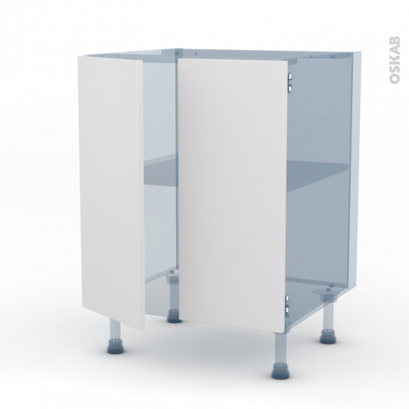 GINKO Blanc - Kit Rénovation 18 - Meuble bas cuisine - 2 portes - L60xH70xP60
