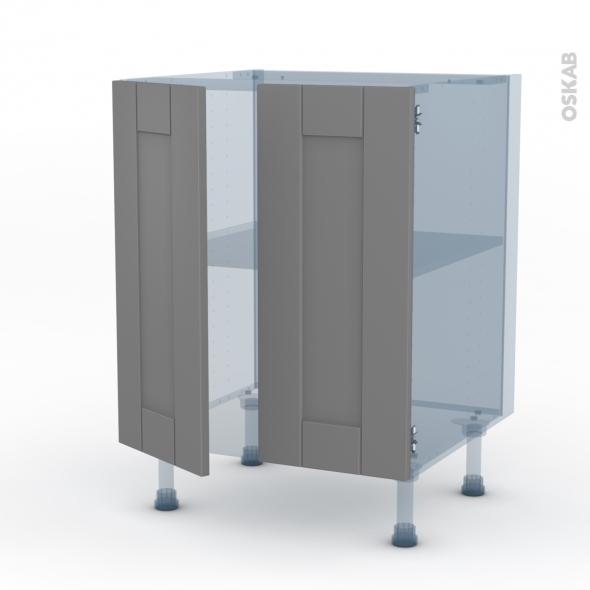 FILIPEN Gris - Kit Rénovation 18 - Meuble bas cuisine - 2 portes - L60xH70xP60