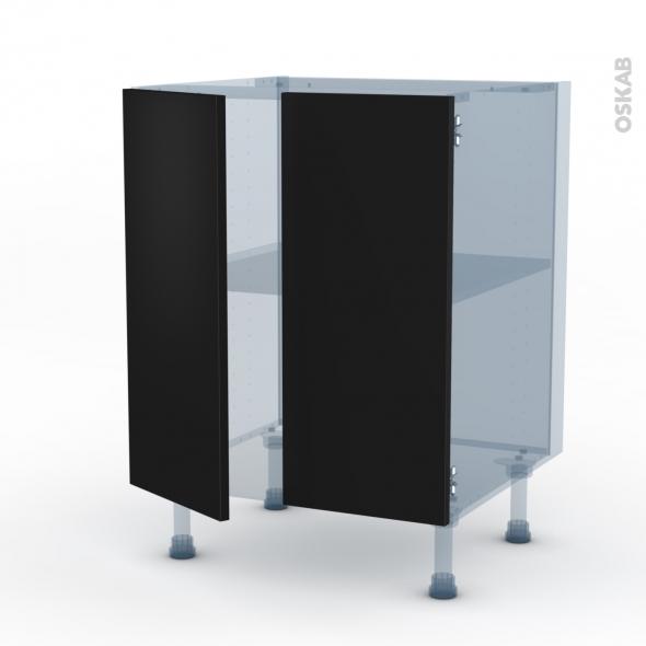 GINKO Noir - Kit Rénovation 18 - Meuble bas cuisine - 2 portes - L60xH70xP60