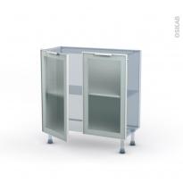 SOKLEO - Façade alu blanc vitrée - Kit Rénovation 18 - Meuble bas prof.37  - 2 portes - L80xH70xP37,5