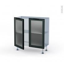 SOKLEO - Façade alu noir vitrée - Kit Rénovation 18 - Meuble bas prof.37  - 2 portes - L80xH70xP37,5