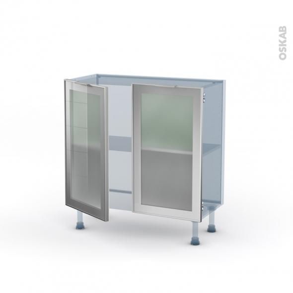 SOKLEO - Façade alu vitrée - Kit Rénovation 18 - Meuble bas prof.37  - 2 portes - L80xH70xP37,5