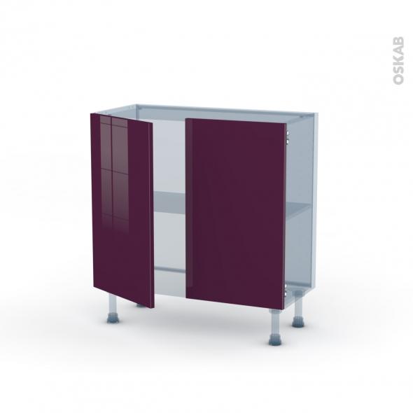 KERIA Aubergine - Kit Rénovation 18 - Meuble bas prof.37  - 2 portes - L80xH70xP37,5