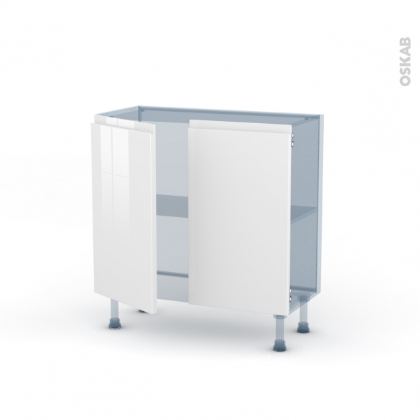 IPOMA Blanc brillant - Kit Rénovation 18 - Meuble bas prof.37  - 2 portes - L80xH70xP37,5