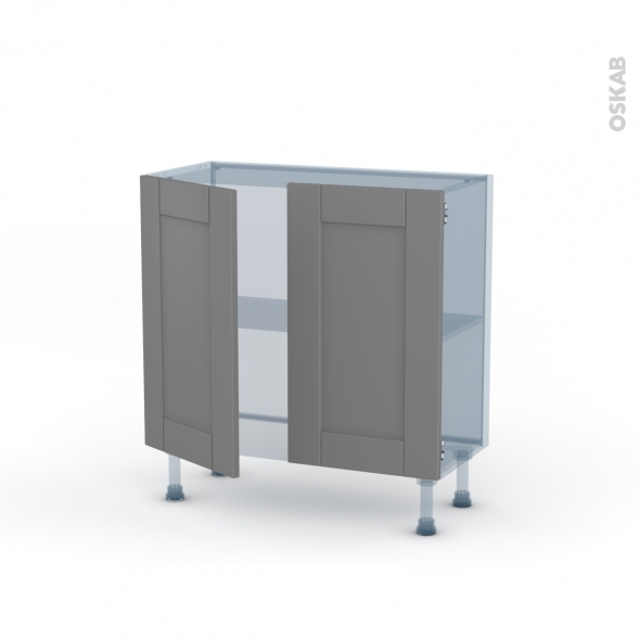 FILIPEN Gris - Kit Rénovation 18 - Meuble bas prof.37  - 2 portes - L80xH70xP37,5