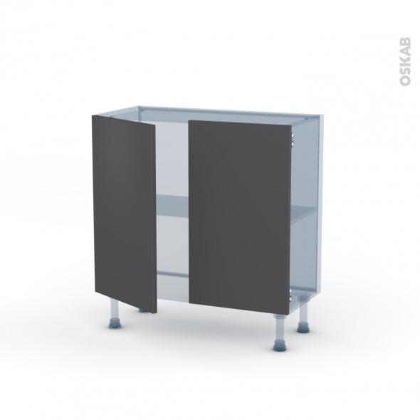 GINKO Gris - Kit Rénovation 18 - Meuble bas prof.37  - 2 portes - L80xH70xP37,5