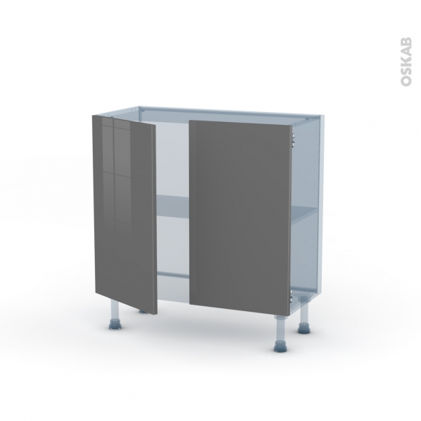 STECIA Gris - Kit Rénovation 18 - Meuble bas prof.37  - 2 portes - L80xH70xP37,5