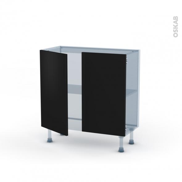 GINKO Noir - Kit Rénovation 18 - Meuble bas prof.37  - 2 portes - L80xH70xP37,5