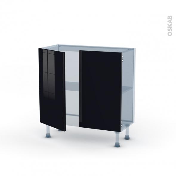 KERIA Noir - Kit Rénovation 18 - Meuble bas prof.37  - 2 portes - L80xH70xP37,5