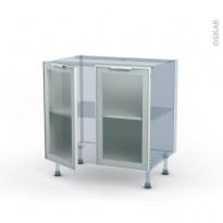 SOKLEO - Façade alu blanc vitrée - Kit Rénovation 18 - Meuble bas cuisine  - 2 portes - L80xH70xP60