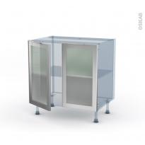 SOKLEO - Façade alu vitrée - Kit Rénovation 18 - Meuble bas cuisine  - 2 portes - L80xH70xP60