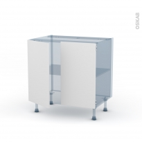 GINKO Blanc - Kit Rénovation 18 - Meuble bas cuisine - 2 portes - L80xH70xP60