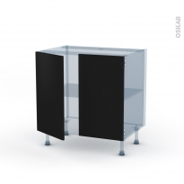 GINKO Noir - Kit Rénovation 18 - Meuble bas cuisine  - 2 portes - L80xH70xP60
