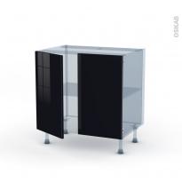KERIA Noir - Kit Rénovation 18 - Meuble bas cuisine  - 2 portes - L80xH70xP60