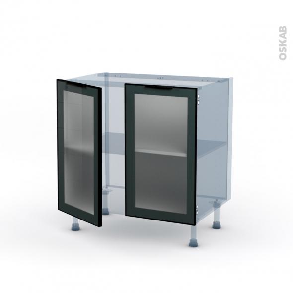 SOKLEO - Façade alu noir vitrée - Kit Rénovation 18 - Meuble bas cuisine  - 2 portes - L80xH70xP60