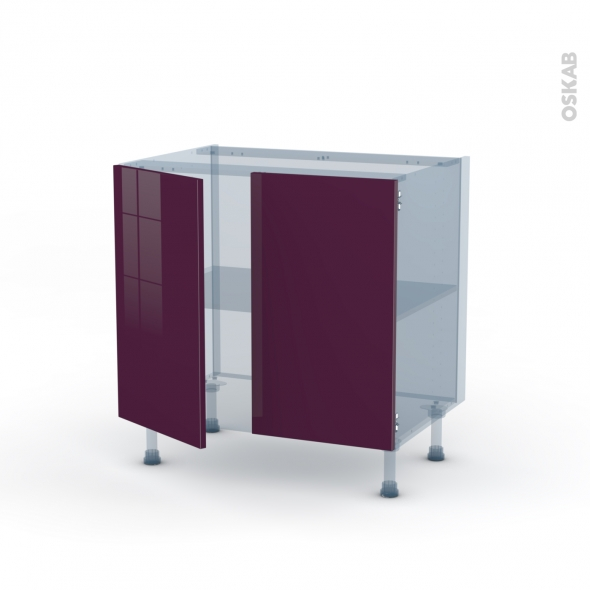 KERIA Aubergine - Kit Rénovation 18 - Meuble bas cuisine  - 2 portes - L80xH70xP60