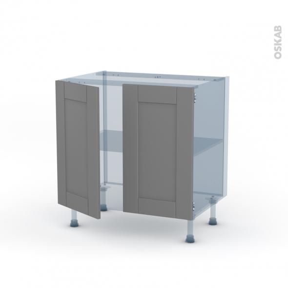 FILIPEN Gris - Kit Rénovation 18 - Meuble bas cuisine  - 2 portes - L80xH70xP60
