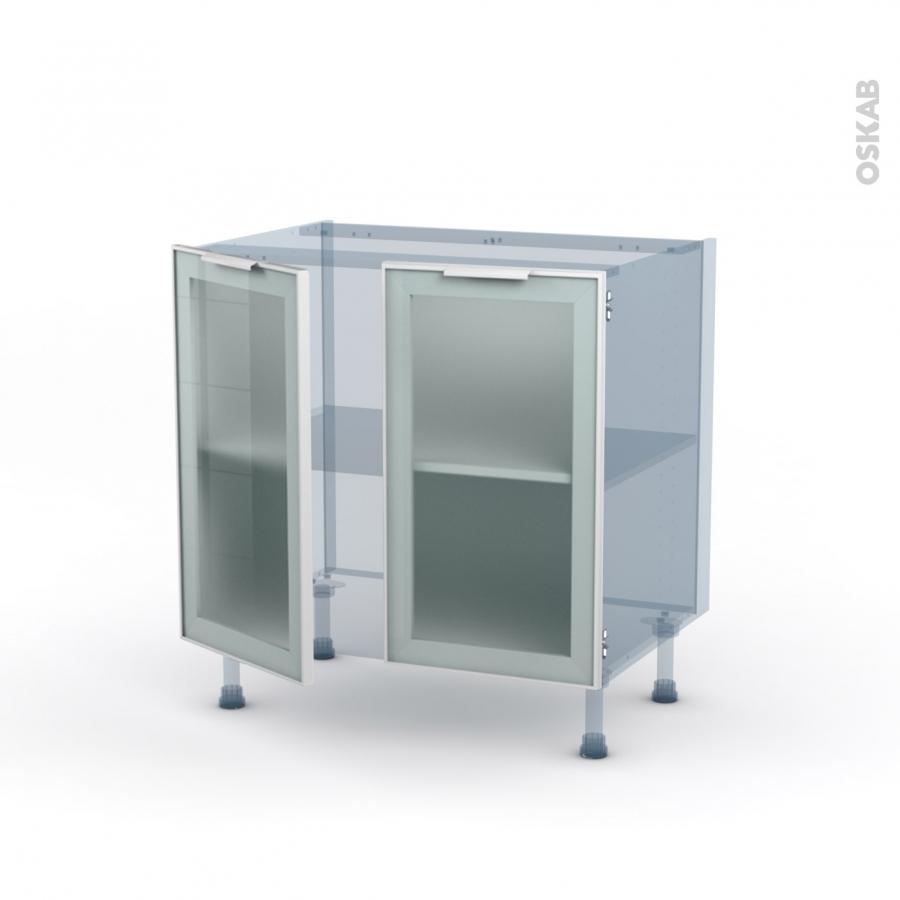 Meuble De Cuisine En Kit: SOKLEO Façade Alu Blanc Vitrée Kit Rénovation 18 Meuble