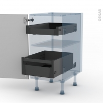 STECIA Gris - Kit Rénovation 18 - Meuble bas - 2 tiroirs à l'anglaise - L40xH70xP60