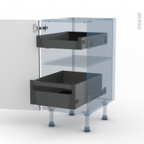 KERIA Noir - Kit Rénovation 18 - Meuble bas - 2 tiroirs à l'anglaise - L40xH70xP60