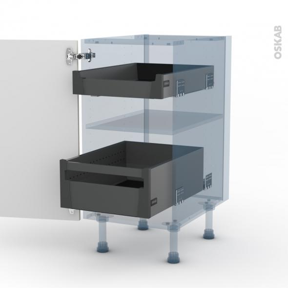 KERIA Ivoire - Kit Rénovation 18 - Meuble bas - 2 tiroirs à l'anglaise - L40xH70xP60