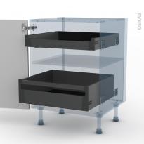 FILIPEN Gris - Kit Rénovation 18 - Meuble bas - 2 tiroirs à l'anglaise - L60xH70xP60