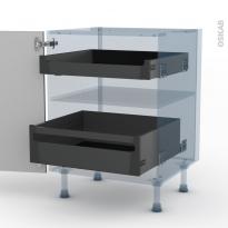 STECIA Gris - Kit Rénovation 18 - Meuble bas - 2 tiroirs à l'anglaise - L60xH70xP60