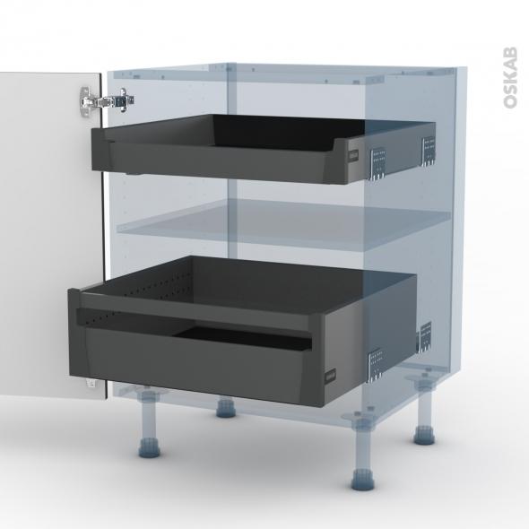 GINKO Gris - Kit Rénovation 18 - Meuble bas - 2 tiroirs à l'anglaise - L60xH70xP60