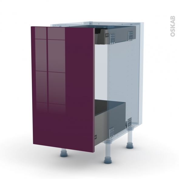 KERIA Aubergine - Kit Rénovation 18 - Meuble bas coulissant  - 1 porte-1 tiroir anglaise - L40xH70xP60