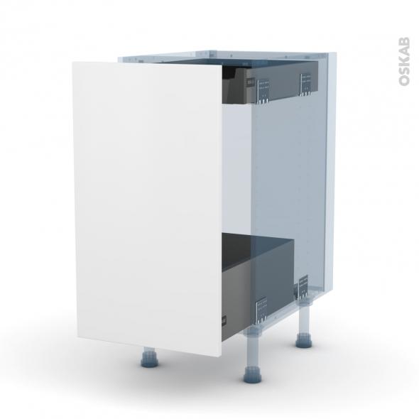 GINKO Blanc - Kit Rénovation 18 - Meuble bas coulissant - 1 porte - 1 tiroir anglaise - L40xH70xP60