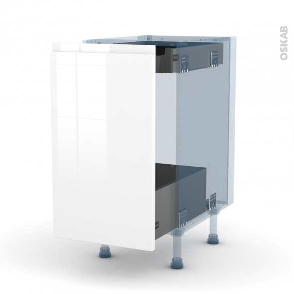 IPOMA Blanc brillant - Kit Rénovation 18 - Meuble bas coulissant  - 1 porte-1 tiroir anglaise - L40xH70xP60