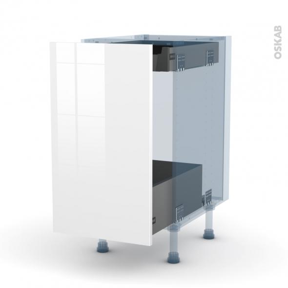 STECIA Blanc - Kit Rénovation 18 - Meuble bas coulissant  - 1 porte-1 tiroir anglaise - L40xH70xP60