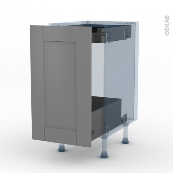 FILIPEN Gris - Kit Rénovation 18 - Meuble bas coulissant  - 1 porte-1 tiroir anglaise - L40xH70xP60