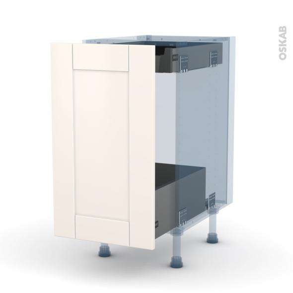 FILIPEN Ivoire - Kit Rénovation 18 - Meuble bas coulissant  - 1 porte-1 tiroir anglaise - L40xH70xP60