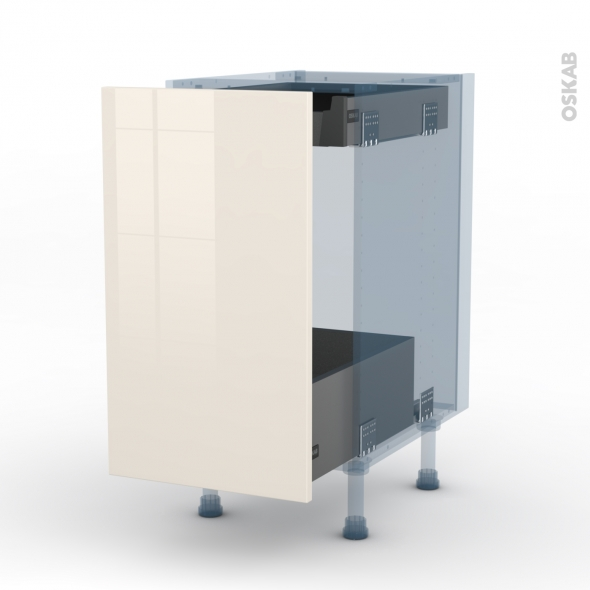 KERIA Ivoire - Kit Rénovation 18 - Meuble bas coulissant  - 1 porte-1 tiroir anglaise - L40xH70xP60