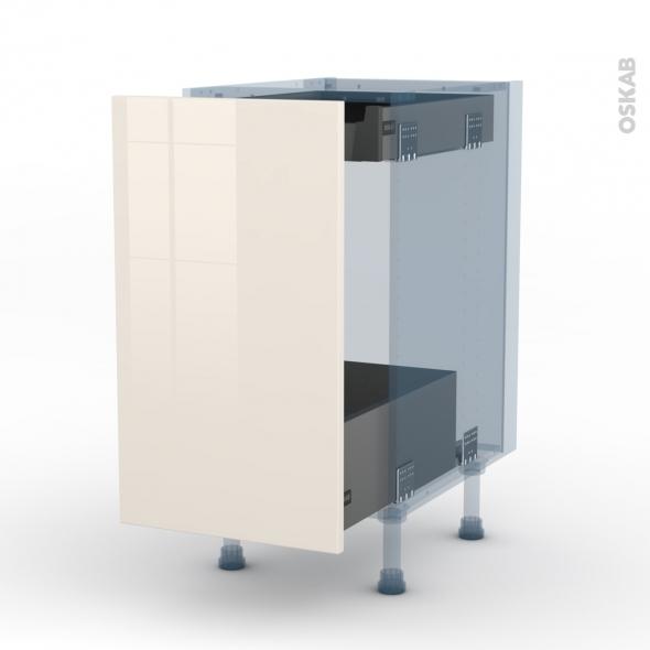 keria ivoire kit r novation 18 meuble bas coulissant 1 porte 1 tiroir anglaise l40xh70xp60 oskab. Black Bedroom Furniture Sets. Home Design Ideas